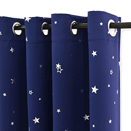 PONY DANCE 2er Set Kindervorhänge Junge - Ösenvorhang Blickdicht Blau Sterne Gardinen Kinderzimmer Verdunkelungsvorhang mit Sternen, H 240 x B 132 cm