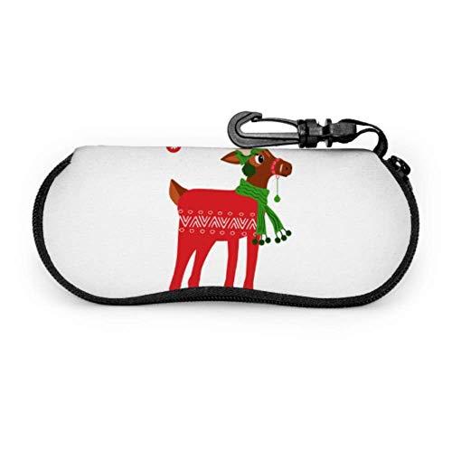 Bonita funda de alce navideña para gafas de sol para mujeres y niñas, funda ligera para gafas de neopreno portátil con cremallera, suave