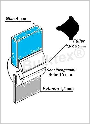 Original Bulktex® Profilgummi Fensterdichtung Vollgummi Scheibengummi 4 mm / 1,5 mm Höhe 15 mm Breite 13,6 mm für Oldtimer - Wohnanhänger - Camping - Wohnmobile – Traktoren – Landmaschinen - Boote – Sportboote – Yachten - Nutzfahrzeugbau – Baufahrzeuge - Auto – Kfz – Pferdeanhänger – LKW - Traktoren – Pferdeboxen – Fahrzeugbau - usw...
