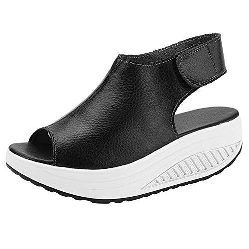DAFENP Sandali con Zeppa Donna Estivi Comode Cuoio Platform Sandalo Eleganti Plateau Scarpe con Tacco per Camminare (Nero, 41)