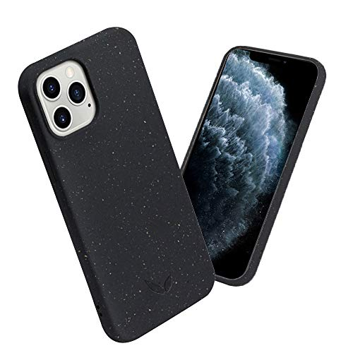 CWA Design - Bio Handyhülle Hülle kompatibel mit iPhone 12/12Pro - umweltfre&lich, nachhaltig, plastikfrei und recyclebar - Schwarz