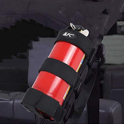 MFC Black Adjustable Roll Bar 3lb Fire Extinguisher Mount Holder Fire Extinguisher Strap Fit for Jeep Wrangler Unlimited CJ YJ LJ TJ JK JKU JL JLU All Years