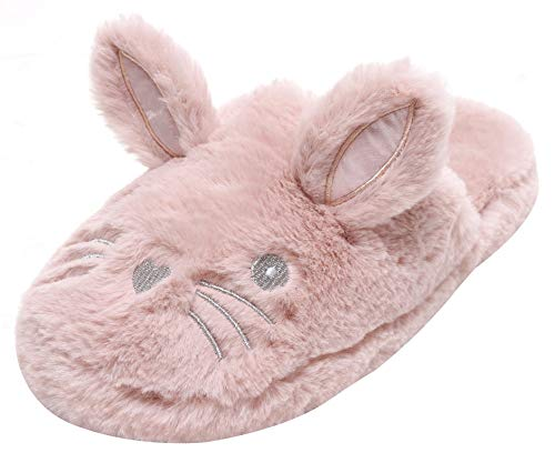 Dynamic24 Damen Plüsch Hausschuhe weich warm Cosy Bunny mit lustigen Ohren Gr. 38-41 Pastell Altrose (Numeric_41)