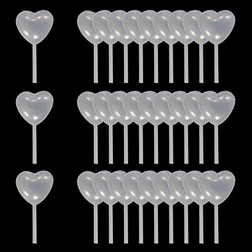 AQSXO 4ml Clear Heart Shape Liquid Dropper, Pasteur Pipette, For Cupcake, Chocolate, Birthday Party And Holiday Decoration, 50 pcs