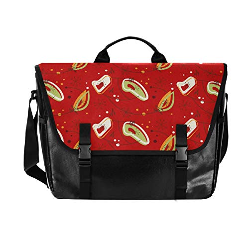 Art Doodling Floral Canvas Flapover Postman Bag, Unisex 15.384 Inch Laptop, Retro Satchel, Business Briefcase, Shoulder Bag, Handbag, Student College Satchel