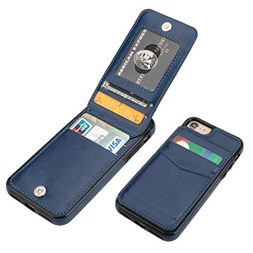iPhone 7 iPhone 8 iPhone SE 2020 Case Wallet with Credit Card Holder, KIHUWEY Premium Leather Magnetic Clasp Kickstand Heavy Duty Protective Cover for iPhone 7/8/SE 4.7 Inch(Blue)