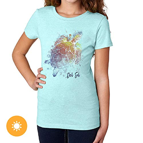 Del Sol Youth Girls Crew Tee - Turtle Splash, Ice Blue T-Shirt - Changes from Blue & White to Vibrant Colors in The Sun - 100% Combed, Ring-Spun Cotton, Short Sleeve - Size YS