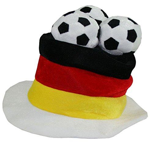 SchönerSchenken.EU Fußball-Hut Germany - Der Hingucker bei jeder Fußballparty, beim Public Viewing und im Stadion - EIN Must Have für jeden echten Fußballfan, Einheitsgröße, Schwarz, Rot, Gold