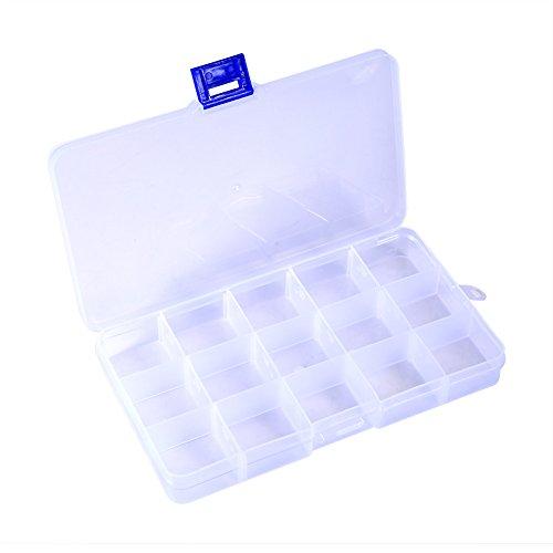Verstelbare 15 vakken Plastic Opbergdoos Sieraden Oorbel Tool Container