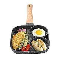 パンケーキフライパンノンスティック、2穴のマルチセクションフライヤーフライパン、フライパンプレート耐久性のあるノンスティックポット調理器具グリルパンケーキメーカー料理調理卵ストーブスキレットディープ