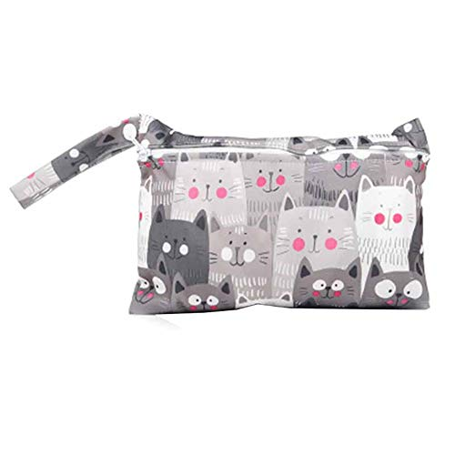 JUNGEN Pequeña bolsa de pañales impermeable con Estampado animal Bolsa de pañales reutilizable para bebé Bolsa de pañales de tela portátil con Cremallera Organizador de pañales (Gato)