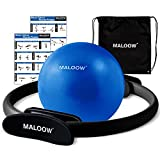MALOOW Pilates Ring Set - Magic Fitness Circle and Pilates Mini Exercise Ball for Legs,Arms and Thighs Resistance Exercise - Home Workout Equipment