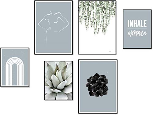 ELAFI® Premium Poster 6er Set groß | Stilvolle Dekoration mit passendem Bilder Set als Wohnzimmer Deko | 6X DIN 30x30cm ohne Bilderrahmen (Inhale Exhale)