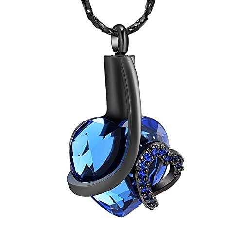 KBFDWEC Joyería de cremación de corazón Collares de urna para Cenizas Colgante de urna de cremación de Cristal Azul Recuerdo Joyería Conmemorativa para Mascota Humana Piedra Azul