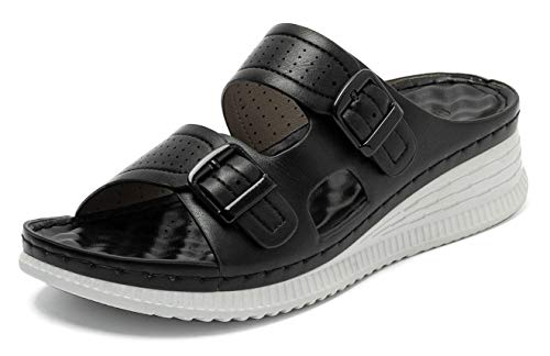 ChayChax Sandali Donna Moda Comode Sandali a Punta Aperta Estate Antiscivolo Leggere Pantofole Interno Esterno,Nero 37,Donna