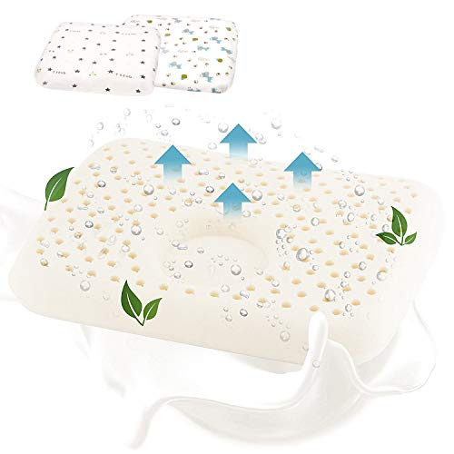 PLATTKOPF Baby Kissen gegen Verformung - Inkl. 3 Bezügen - Sanft & Weich - Antiallergen - Chemiefrei - Orthopädisches Säuglings Kinder Babykopfkissen von Jupistar
