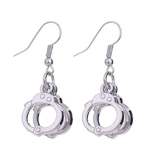 Fenical 1 Paar Lustige Kreative Handschellen Design Mode Metall Ohrringe Ohrschmuck für Frauen Damen