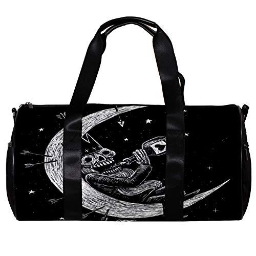 Bolsa de deporte redonda con correa de hombro desmontable, diseño de esqueleto muerto, rey bebiendo en la luna, bolsa de entrenamiento para mujeres y hombres