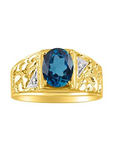 Anillo de plata de ley con topacio azul y diamante para hombre, ovalado clásico, chapado en oro amarillo de 14 quilates, plata de ley 925 con piedra natal de diciembre, tamaños 8, 9, 10, 11, 12