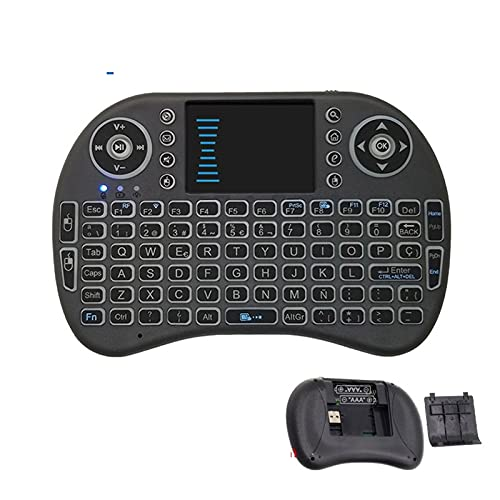 juqingshanghang1 Accesorios para PC I8 Teclado Teclado USB Air Mouse Backlit TouchPad para Smart TV Box Play Game PC AAA batería Tranquilo y ergonómico (Color : Spanish Keyboard)