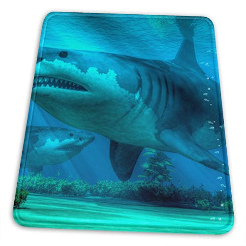 The Biggest Sharkmouse Mat Small Gaming Mouse Pad for Women and Men Waterproof Office Mousepad Non-Slip Rubber Base Durable Stitched Edge Mouse Pad Black 7.9 X 9.5 In