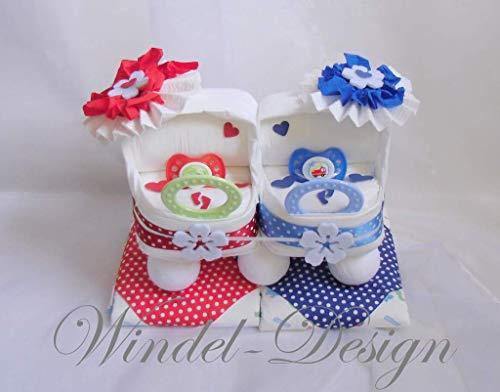Windeltorte in rot - blau für Jungen, Mädchen Zwillinge Windelwagen, Geschenk, Babyparty, Geburt oder Taufe, auf Wunsch mit Grußkärtchen