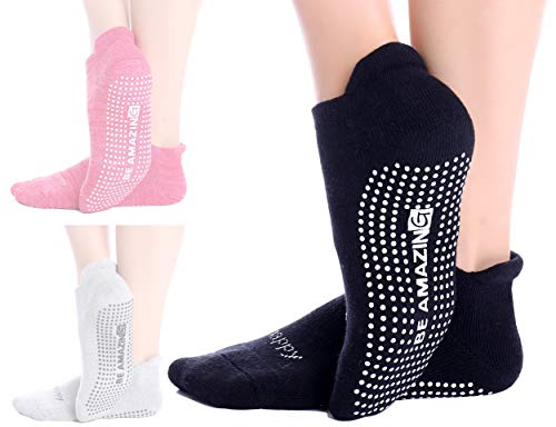 Non-Slip Socks Yoga Barre Pilates Hospital Maternity Sock w/Grips For Women Men 1 Pack Black