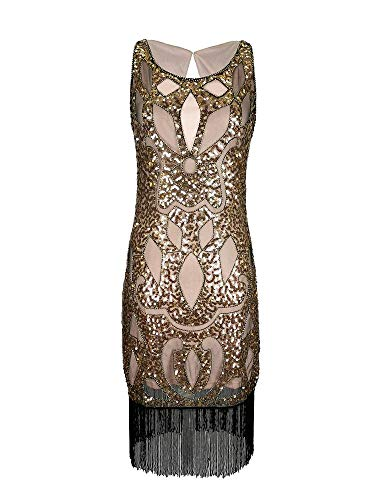 Gold Beige 1920er Jahre Flapper Gatsby Abend Tanzkleid Phantasie Frauen Mädchen Größe 1920 Pailletten Quaste Vintage-Mode Kleidung (Campagne Gold, EU 38)
