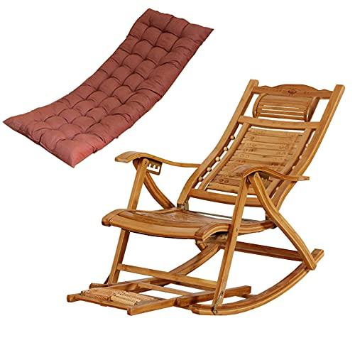 HWBB Tumbona Plegable Mecedora Plegable con Diseño Ergonómico, Tumbonas de Bambú Natural con Almohada Reposacabezas y Mesa de Masaje de Pies, Sillones Reclinables Acolchados de Madera