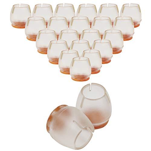 Stuhlbeinkappen (100er-Pack) - Silikon Schutzkappen (3.3 x 3.3 cm) - Transparente Stuhl Filzgleiter passen auf 2.5cm - 2.9cm Durchmesser runde Stuhlbeine - Ideal für Zuhause, Schule oder Büro
