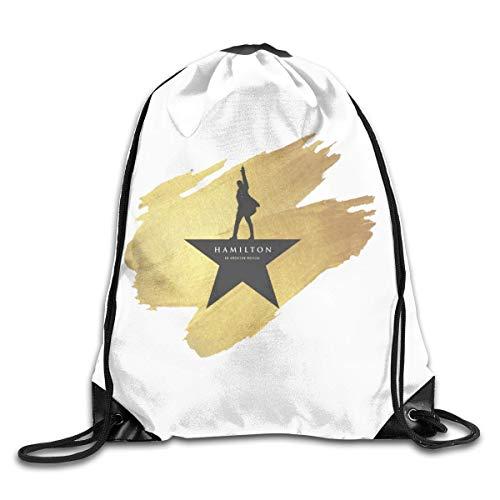 JHUIK Drawstring Bag Backpack,Hamilton The Musical Fashion Bundle Sac à Dos Sacs à bandoulière Homme Femme Sac de Conception à Cordon de Serrage extérieur Taille Unique