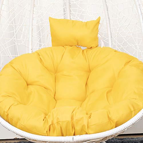 ZJHTK Cojín colgante para silla con cojín de columpio, hamaca con almohada para la cabeza, antideslizante, grueso utilizado para interiores y exteriores, patio, jardín (sin soporte), amarillo