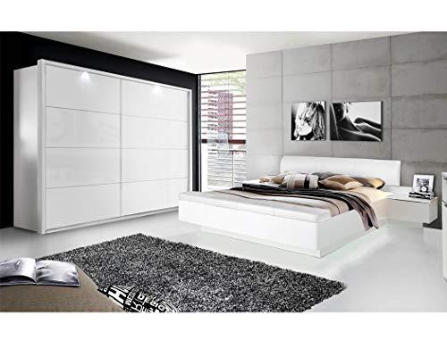expendio Schlafzimmer Sophie 20C weiß teilweise Hochglanz Doppelbett mit 2X Nachtkonsole Schwebetürenschrank mit Beleuchtung