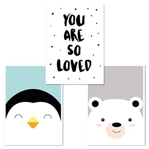 Kinderzimmer Poster Set 3 Stück, Babyzimmer Deko, DINA 4, Junge Mädchen, (Pinguin, Loved, Bär)