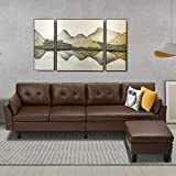 Esright 4-Seat Sectional Sofa Couch Brown Faux Leather L-Shape Convertible Couch for Living Room, Living Room Furniture Sets with Chaise Lounge for Apartment, Brown