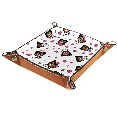 Bandeja de Cuero Pequeño perro marrón en un corazón rojo Almacenamiento Bandeja Organizador Bandeja de Almacenamiento Multifunción de Piel para Relojes,Llaves,Teléfono,Monedas