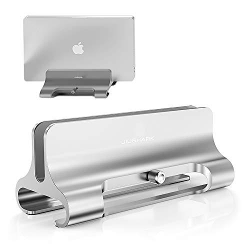 DolDer platzsparend Laptopstander Vertikaler Alulegierung Laptop Stander fur alle Tablets und 10 173 Zoll Laptops zB MacBook Lenovo Dell und mehr Geeignet fur 1 Laptop Silber
