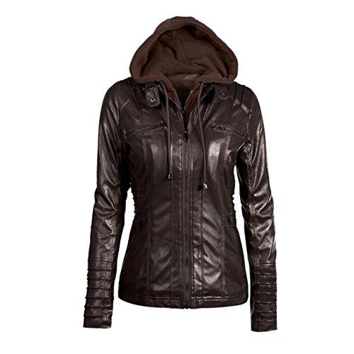 Winter Hooded Jacke Damen Btruely Warm Mädchen Parka Damen Revers abnehmbarer Reißverschluss Mantell Slim Outwear (XXL, Kaffee)