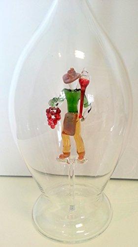Carafe du verre clair,avec ne cave, le vin fait de verre coloré à l'intérieur , bouteille en verre soufflé bouche magnifique cristal en forme de bouteille, remplir capacité de 0,5 litre, Hauteur: 30 cm, conception Oberstdorfer Glashutte