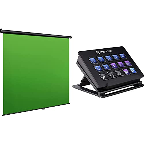 Elgato Green Screen MT ( aus knitterfreiem Dacron von Dupont-Material) (200x180 cm) Wand-/Deckenmontage & Stream Deck Live Content Creation Controller (mit personaliserbaren LCD-Tasten)