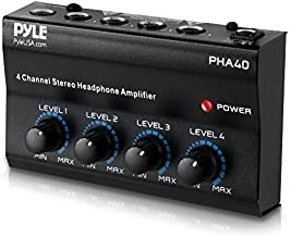 """4-Channel Portable Stereo Headphone Amplifier - Professional Multi Channel Mini Earphone Splitter Amp w/ 4 ¼"""" Balanced TRS Headphones Output Jack and 1/4"""