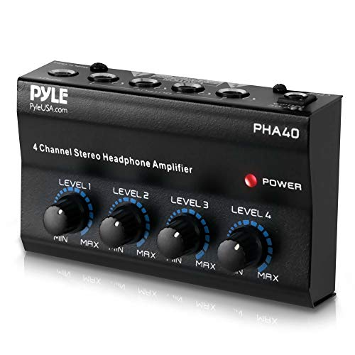 "4-Channel Portable Stereo Headphone Amplifier - Professional Multi Channel Mini Earphone Splitter Amp w/ 4 ¼"" Balanced TRS Headphones Output Jack and 1/4"