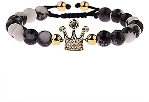 zhuangpuxu Necklace Necklace Copper Beads Bracelet for Women Men Adjustable Black White Natural Stone Rope Braided Bracelets Gift
