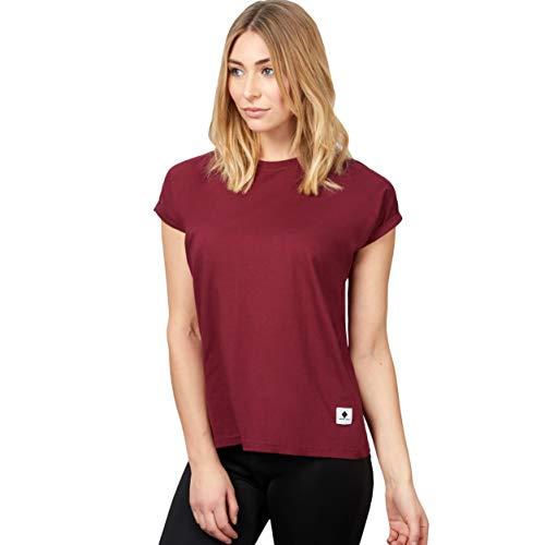 urban ace | Basic T-Shirt, Loose fit | für Damen, Frauen | Freizeit, Sport | locker geschnitten | aus 95% Baumwolle (weinrot, L)