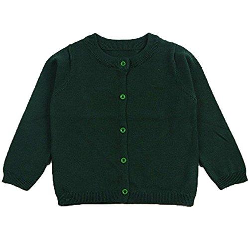 FAIRYRAIN FAIRYRAIN Baby Mädchen Kinder Einfarbig Basic Strickjacke Strickpullover Jacket Langarm Cardigan Pullover 4-5 Jahre Dark Grün