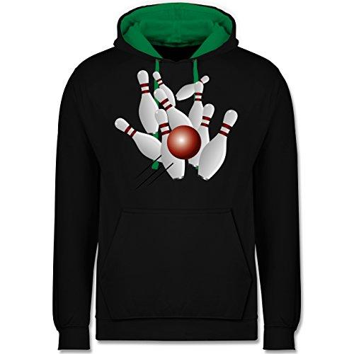 Shirtracer Bowling & Kegeln - Kegeln alle 9 Kegeln Kugel - S - Schwarz/Grün - Bowlingkugel - JH003 - Hoodie zweifarbig und Kapuzenpullover für Herren und Damen