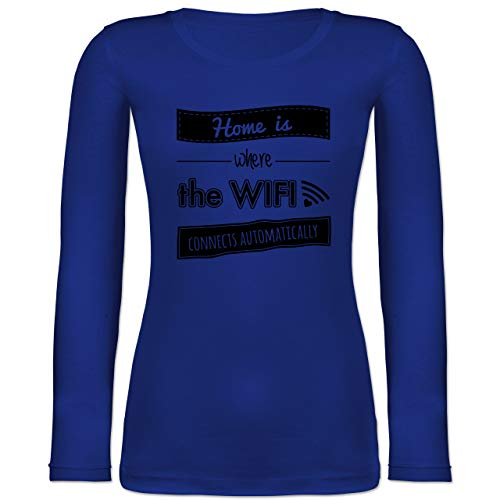 Statement - Home is Where The WiFi Connects Automatically - L - Blau - Typo-Grafie - BCTW071 - Langarmshirt Damen
