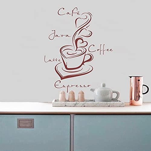 Usmnxo Etiqueta engomada de la Pared del Vinilo de la Taza de café calcomanía decoración de la Pared Arte de la Pared café Cocina decoración del hogar calcomanía 55x68cm
