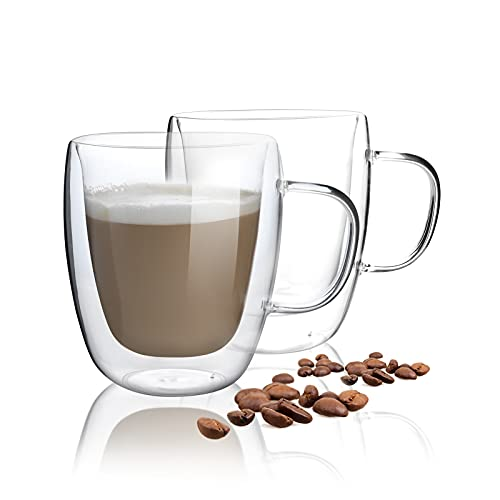 HORLIMER 15 oz Double Walled Insulated Glass Coffee Mugs Set of 2, Clear Coffee Cup with Handle for Espresso Cappuccino Latte Tea Milk Juice
