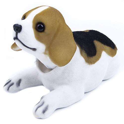 Baalaa Car Decor - Cabeza de cabeza de beagle asintiendo al perro, color negro, blanco y marrón claro